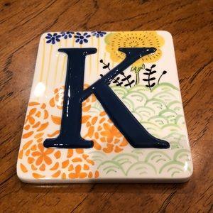 "Anthropologie letter ""K"" trivet/ wall hanging. NWT"